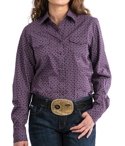Cinch Women's Purple Geometric Print Western Snap Shirt