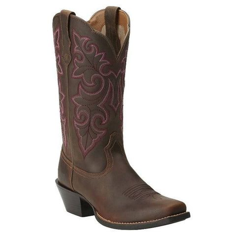 Ariat® Ladies Round Up Square Toe Powder Brown Boots