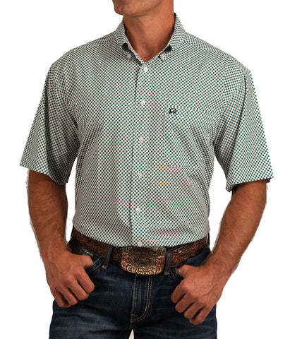 Cinch Men's Short Sleeve ArenaFlex® Button-Down Shirt - White, Gold And Turquoise Print