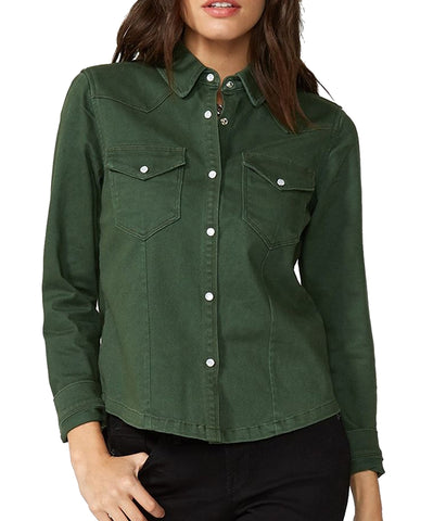Stetson© Women's Olive Twill Embroidered Shirt