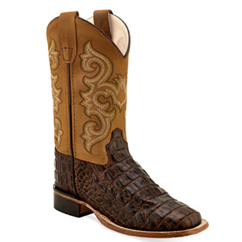 Old West Kids Horn Back Gator Print Boots