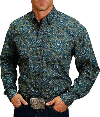 Stetson© Men's Classic Long Sleeve Paisley Button Down Shirt