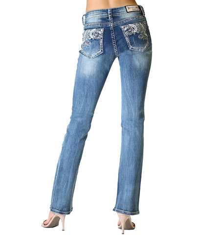 GRACE WAVE EMBELLISHED DESIGN EASY BOOTCUT JEANS