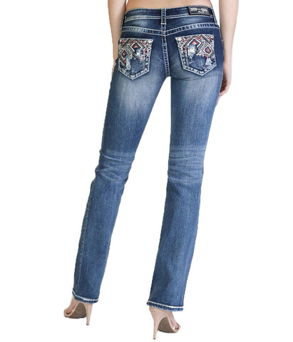 GRACE EASY FIT EMBELLISHED COLOR-DESIGN PATTERN BOOTCUT JEANS