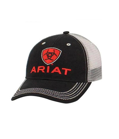 ARIAT® MENS BLACK AND RED LOGO MESH CAP