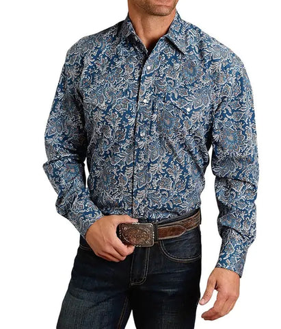 Stetson© Men's Blue Print Western Snap Shirt