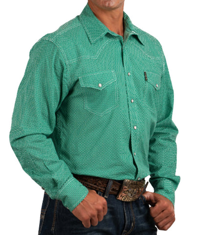Cinch Men's Green Geometric Print Western Snap Shirt