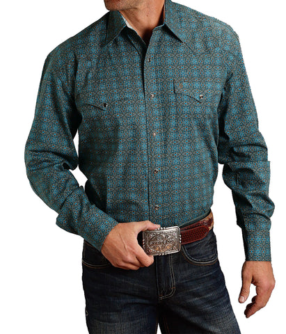 Stetson© Men's Brown Hornet Medallion Snap Shirt