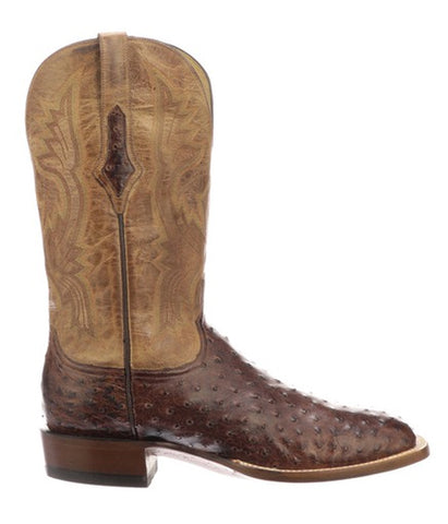 Lucchese Men's Full Quill Ostrich Cliff Cowboy Boot - Chocolate/Tan