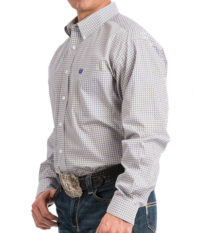 Cinch Men's Purple And Gray Geometric Print Western Button-Down Shirt