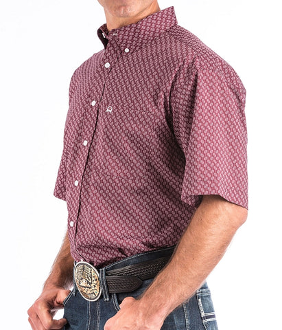 Cinch Men's Short Sleeve ArenaFlex® Button-Down Shirt - Burgundy Print