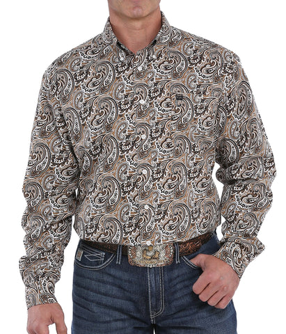 Cinch Men's Khaki Paisley Print Button-Down Western Shirt