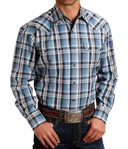 Stetson© Men's Plaid Snap Blue Western Shirt