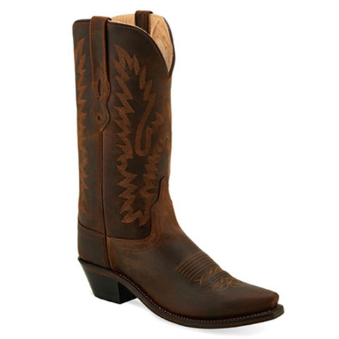 Old West Womens Brown Snip Toe Cowgirl Boot