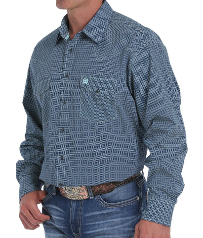 Cinch Men's Navy And Light Blue Geometric Print Snap Front Western Shirt
