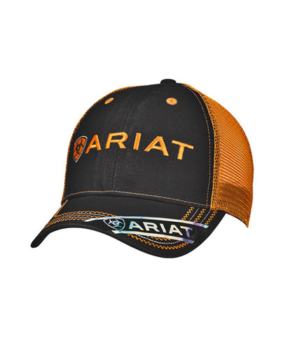 ARIAT® MENS ORANGE AND BLACK LOGO CAP