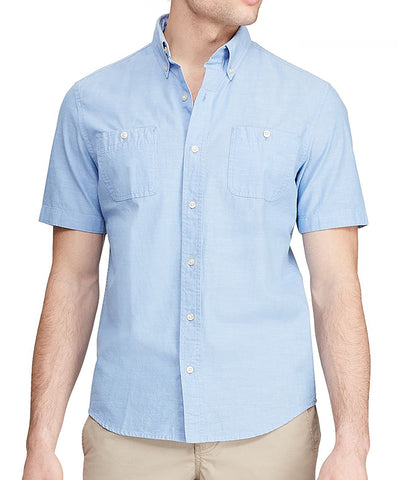 Chaps Men's Blue Lagoon Short-Sleeve Sport Button-Up Shirt