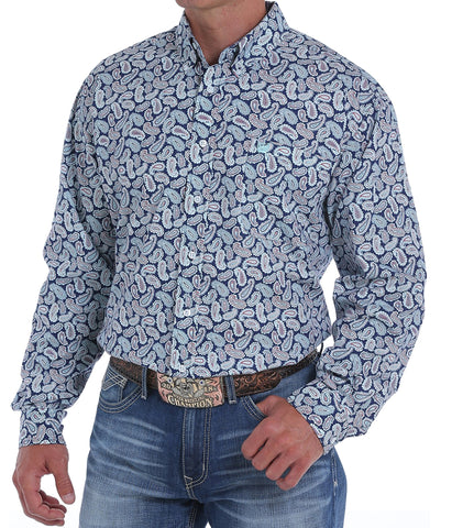 Cinch Men's Navy And Light Blue Pine Print Western Shirt