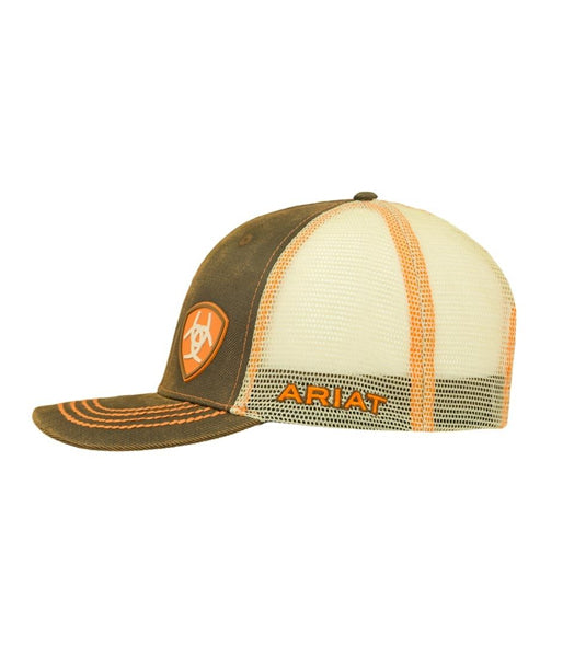 02e9d4a02 ARIAT® BROWN AND ORANGE OILSKIN CAP