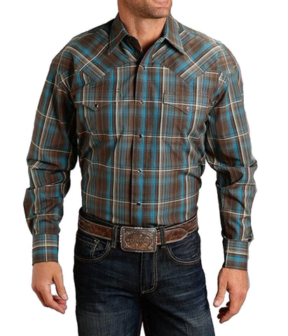 Stetson© Men's Brown Rain Plaid Western Shirt