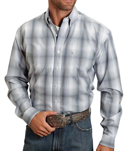 Stetson© Men's Classic Long Sleeve Plaid Concrete Shirt