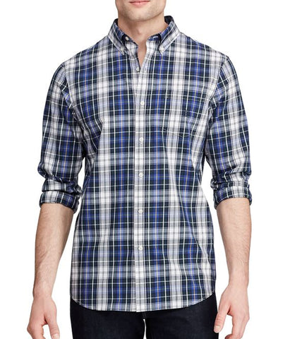 Chaps Men's Long Sleeve Easy Care Pine Multi Shirt