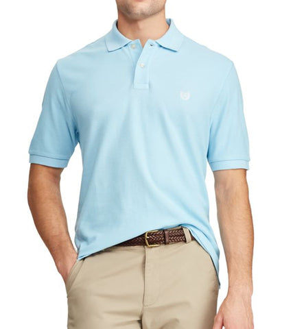 Chaps Mens Pool Blue Pique Short Sleeve Polo