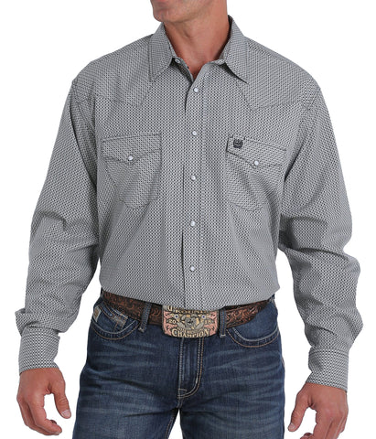 Cinch Men's Gray And White Geometric Print Snap Western Shirt