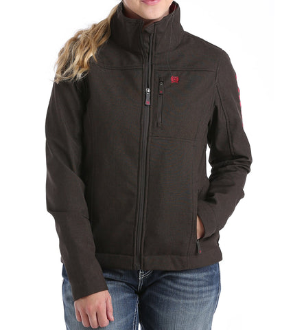 CINCH LADIES CONCEALED CARRY BONDED JACKET - CHOCOLATE/CRANBERRY