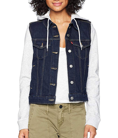 LEVI'S WOMENS HYBRID ORIGINAL TRUCKER JACKET - DARK WASH