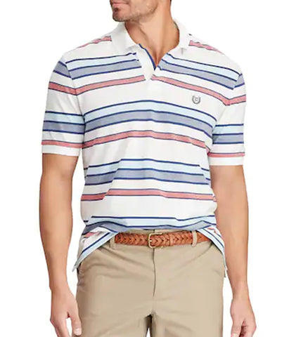 Chaps Mens White Striped Classic-Fit Polo