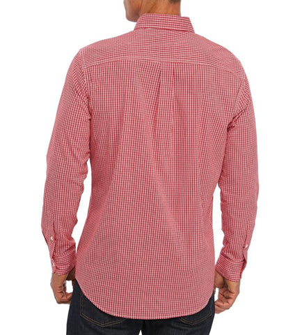 Chaps Men's Long Sleeve Easy Care Red Plaid Shirt