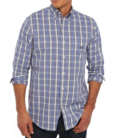 Chaps Men's Blue Long Sleeve Easy Care Plaid Shirt