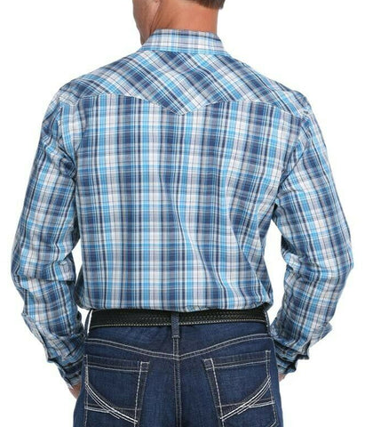Cinch Men's Navy Long Sleeve Snap Plaid Shirt