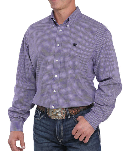 Cinch Men's Purple Geo Print Button Long Sleeve Western Shirt