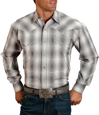 Stetson© Men's Long Sleeve Snap Plaid Western Shirt