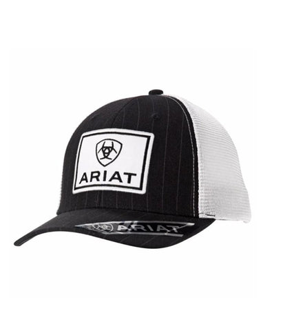 ARIAT® MENS BLACK/WHITE MESH SHIELD LOGO CAP