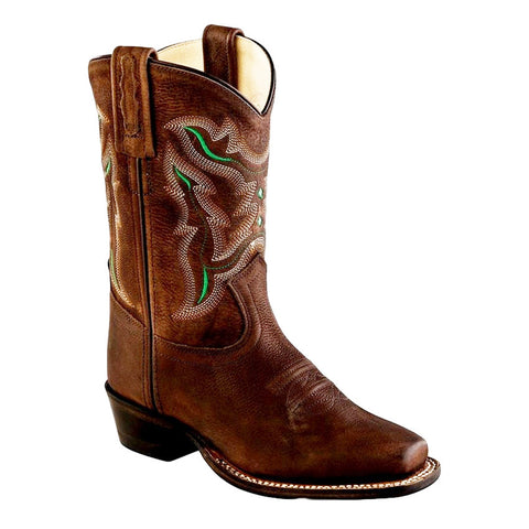 Cowboy Boots Boys Girls Kid Square Goodyear Brown Tumble