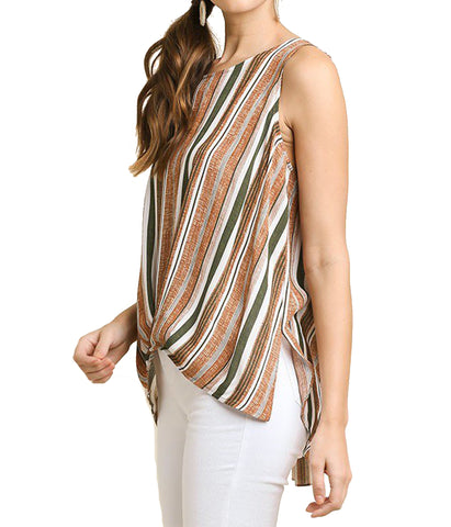 Striped Sleeveless Ladies' Top