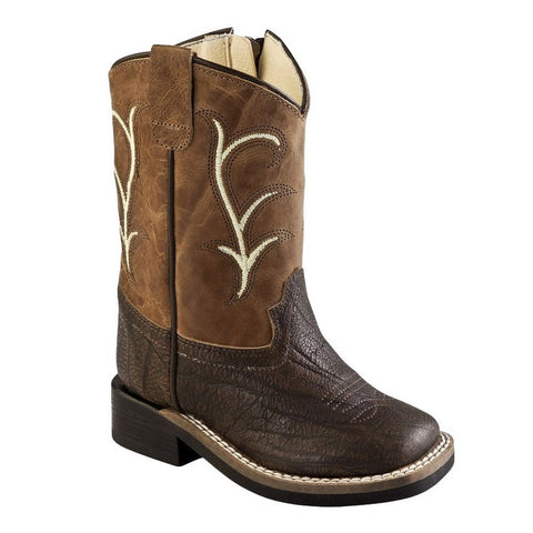 Cowboy Boots Boys Girls Kids Stitching Brown Tumble