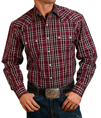 Stetson© Men's Long Sleeve Plaid Snap Shirt