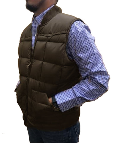Bullrider Men's Western Vest, Nylon Shell, Poly/Down Fill , Brown