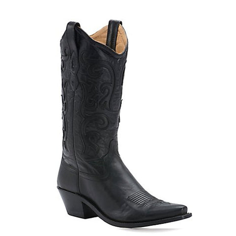 Old West Ladies Classic Black Vineyard Snip Toe Western Boots