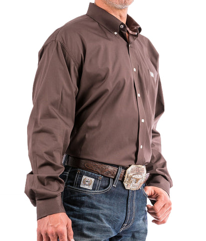 Cinch Mens Solid Brown Button Down Western Shirt