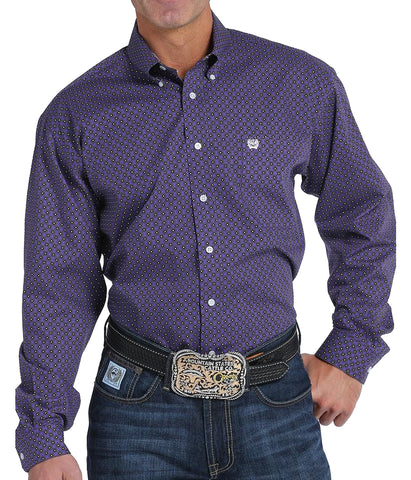 Cinch Men's Purple Diamond Print Long Sleeve Shirt