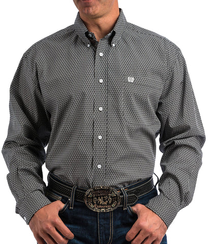 Cinch Men's Black & White Fish Bone Print Button Up Western Shirt