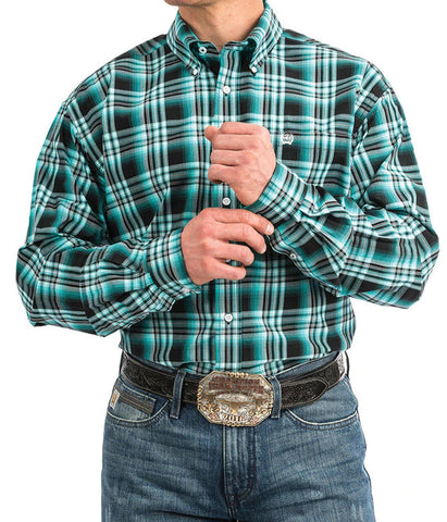 Cinch Long Sleeve Black And Teal Plaid Shirt
