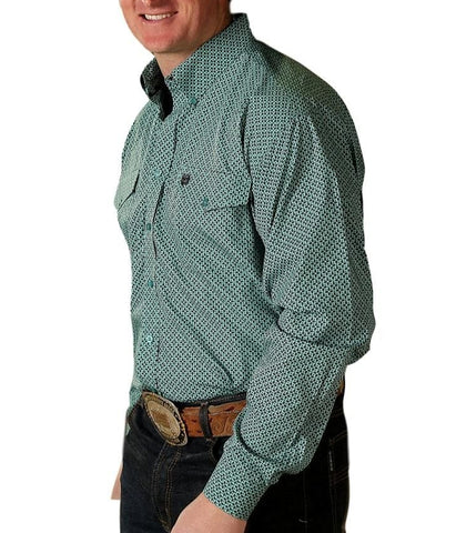 Cinch Men's Western Green & Turquoise Long Sleeve Shirt