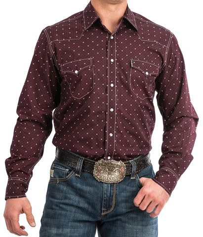 Cinch Mens Burgundy Geometric Print Western Snap Shirt