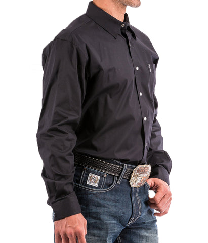 Cinch Men's Solid Black Modern Fit Western Button-Down Shirt